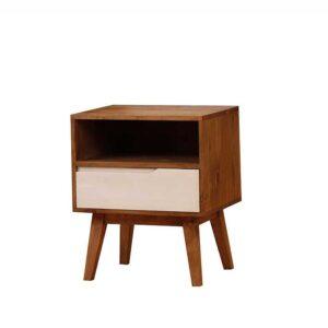 mesita de noche de madera estilo retro con 1 cajón